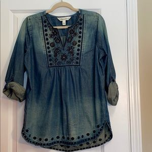 Tantrums Chambray long sleeved Boho Blouse S
